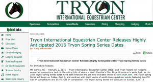 Tryon International Equestrian Center just announced its Spring 2016 Events - Here Comes the World!