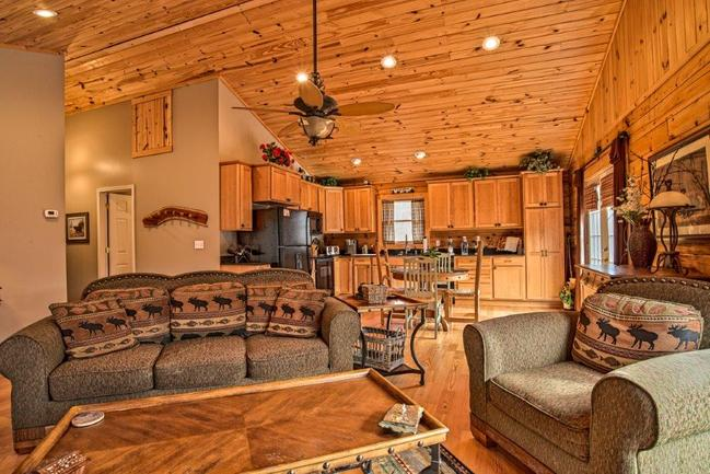 cozy log cabin equipped with modern amenities