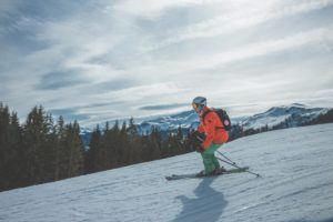 A man skiing in the mountains