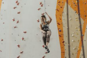 An indoor climbing gym